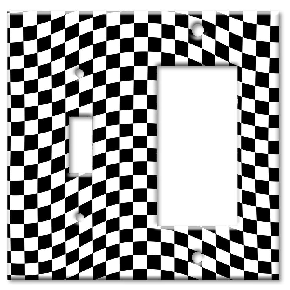 Art Plates Checkered Racing Flag Switch/Rocker Combo Wall Plate