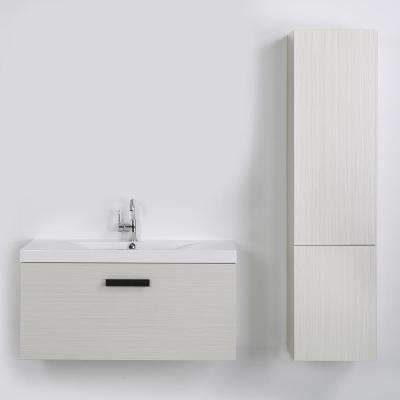 39.4 in. W x 18.2 in. H Bath Vanity in Gray with Resin Vanity Top in White with White Basin