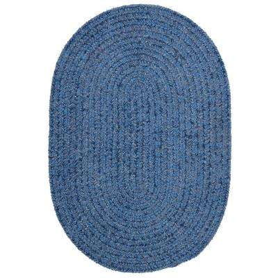 Dover Chenille Petal Blue 8 ft. x 10 ft. Oval Braided Area Rug