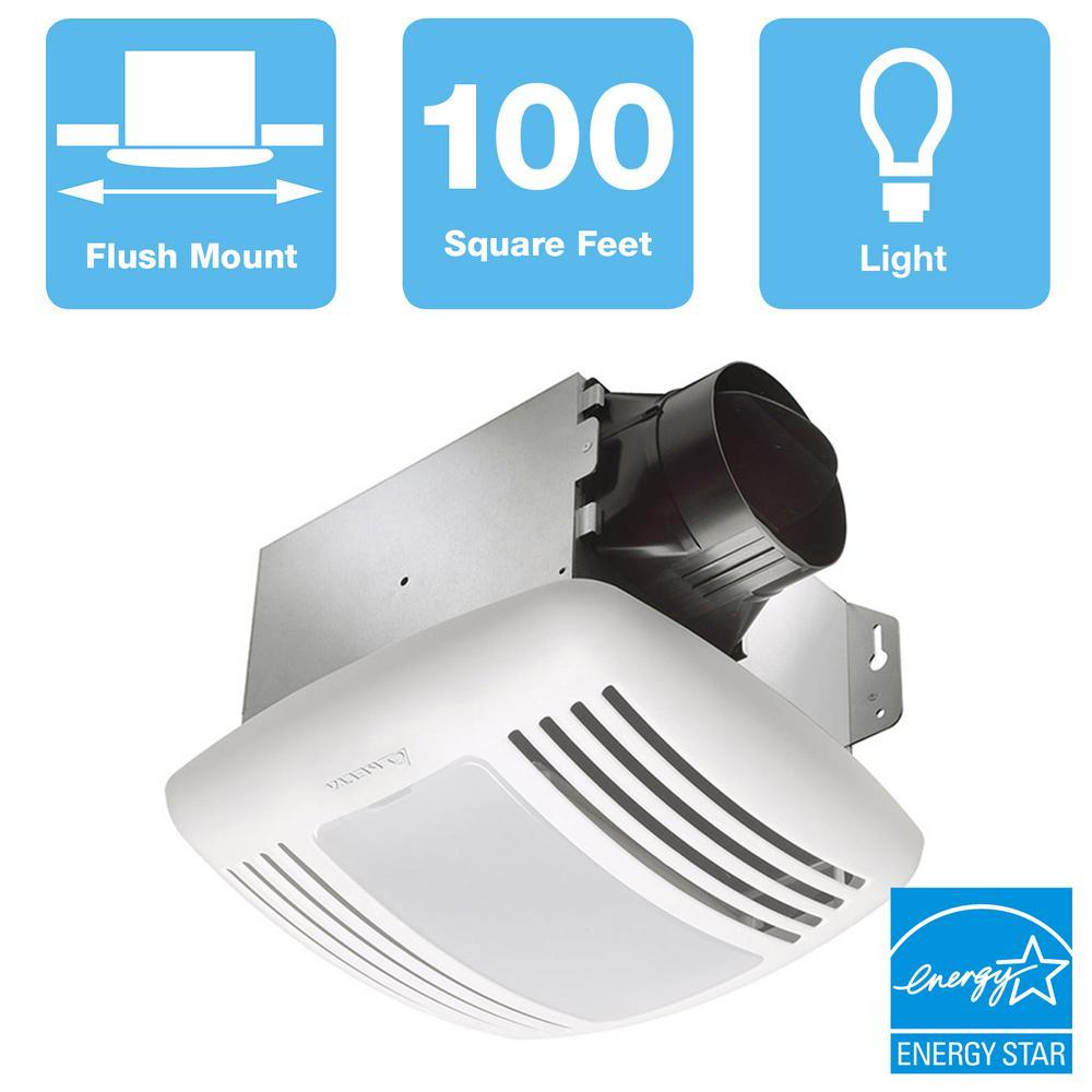 Delta Breez GreenBuilder Series 100 CFM Ceiling Bathroom Exhaust Fan with Light, ENERGY STAR