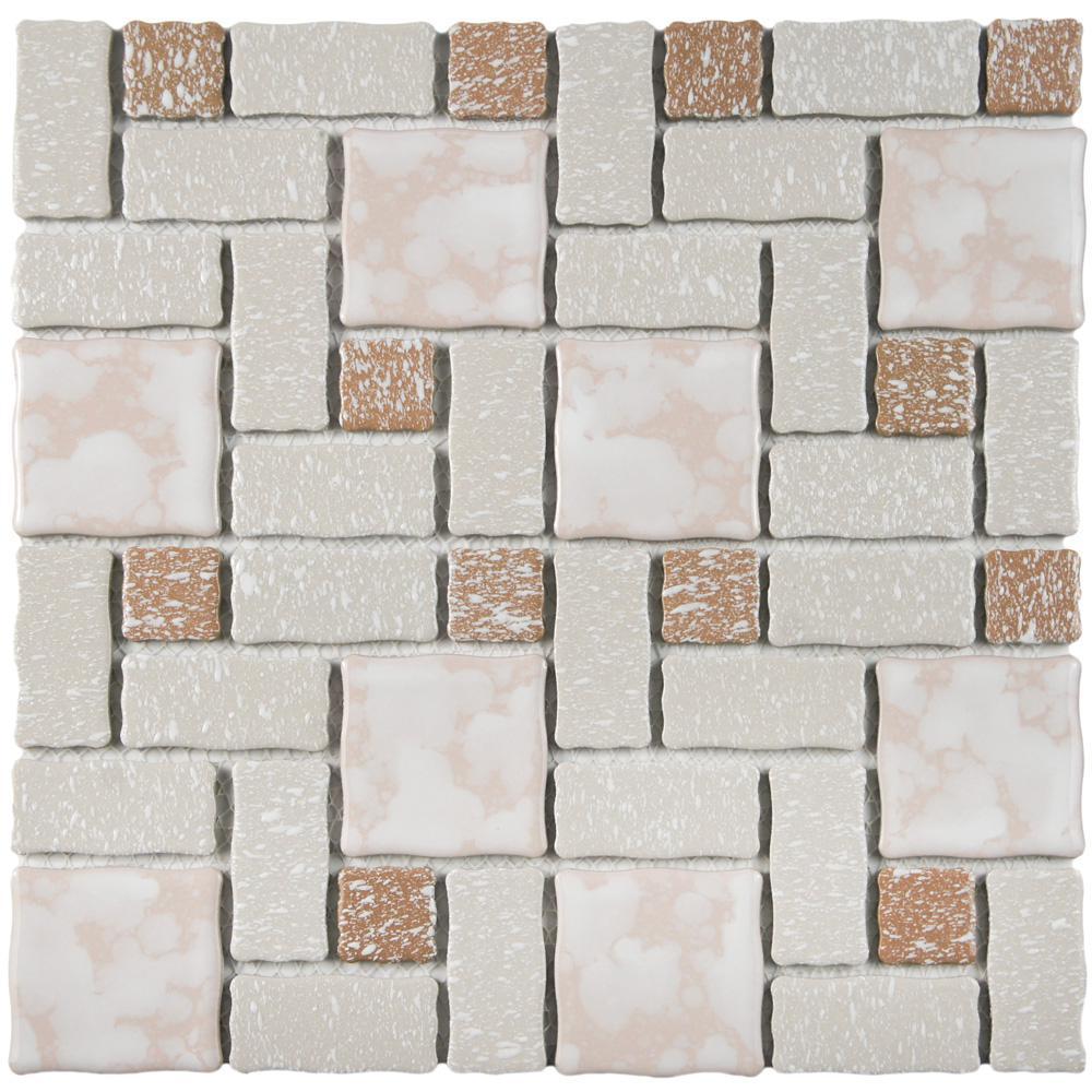 Merola Tile Academy Beige 11-3/4 in. x 11-3/4 in. x 5 mm Porcelain Mosaic Tile
