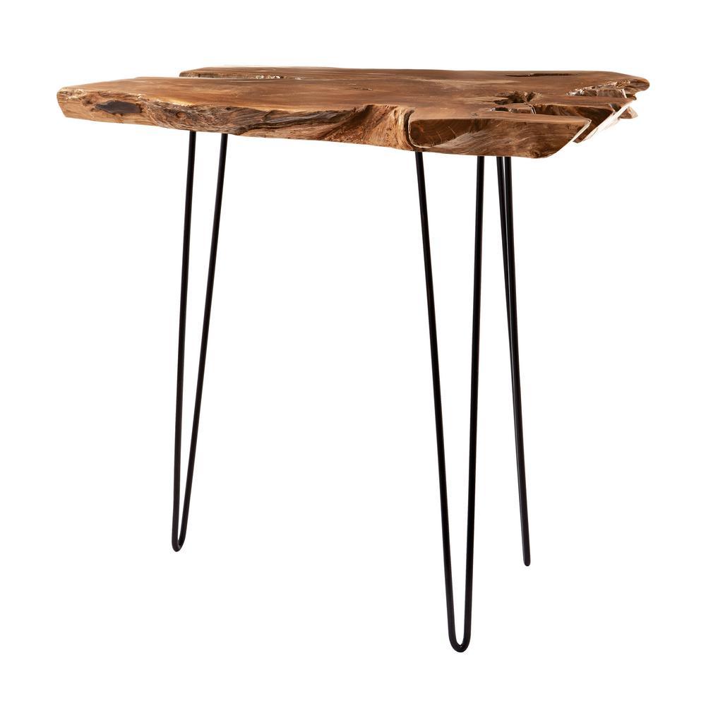 Titan Lighting Natural Teak Slab And Black Iron Console Table