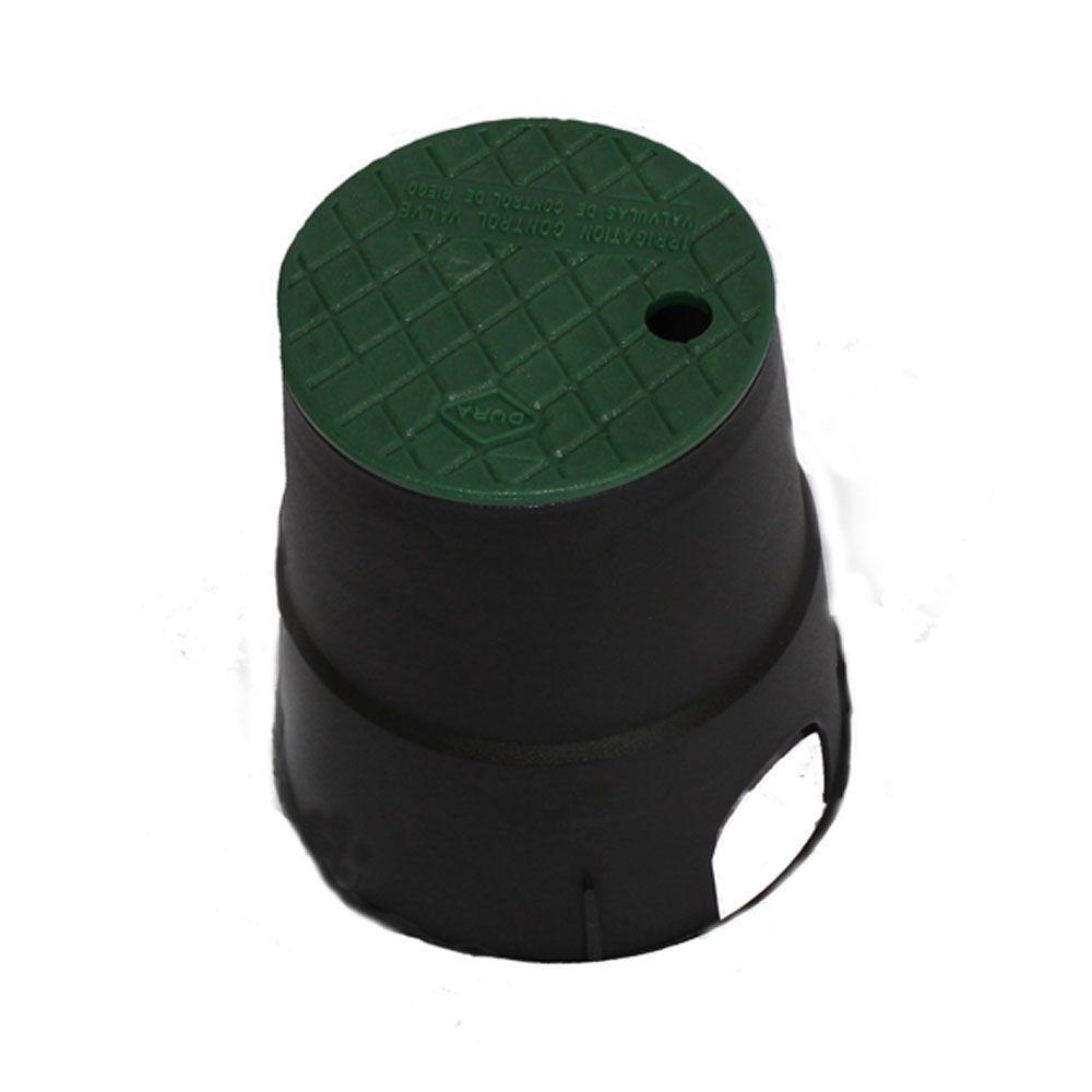 7 in. Round Valve Box in Black Body Green Lid