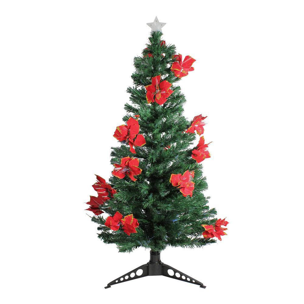 5 ft. Pre-Lit Medium Fiber Optic Artificial Christmas Tree with Red Poinsettias - Multicolor Lights