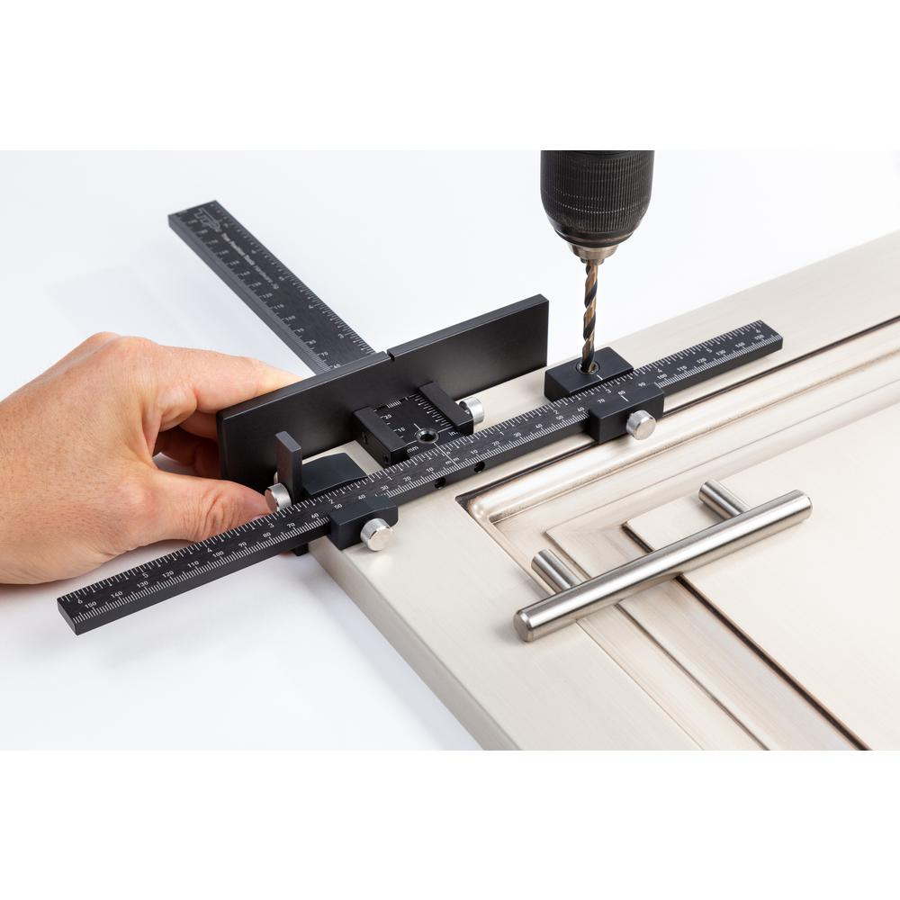 Cabinet Hardware Jig for Installation of Handles and Knobs on Doors