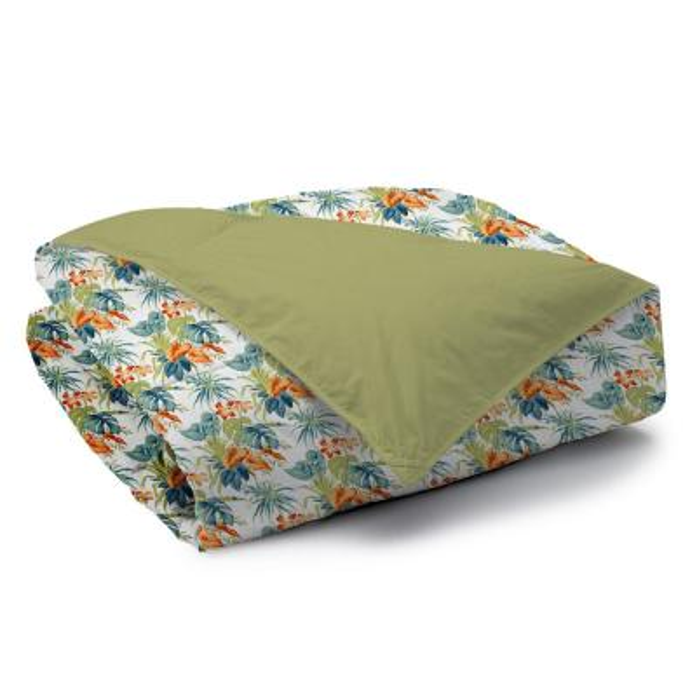 Palm Oasis Reversible Print 100% Organic Cotton Wrinkle Resistant Duvet Set and Insert