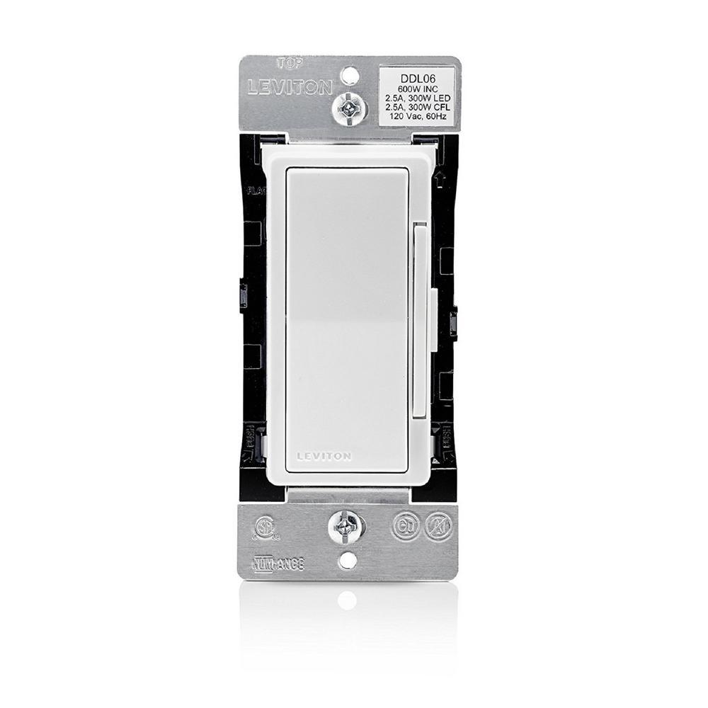 Decora Digital Dimmer 300-Watt LED and CFL/600-Watt Incandescent/Halogen, White/Light Almond