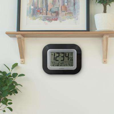 9 in. x 7-1/4 in. Digital Atomic Black Wall Clock with Temperature
