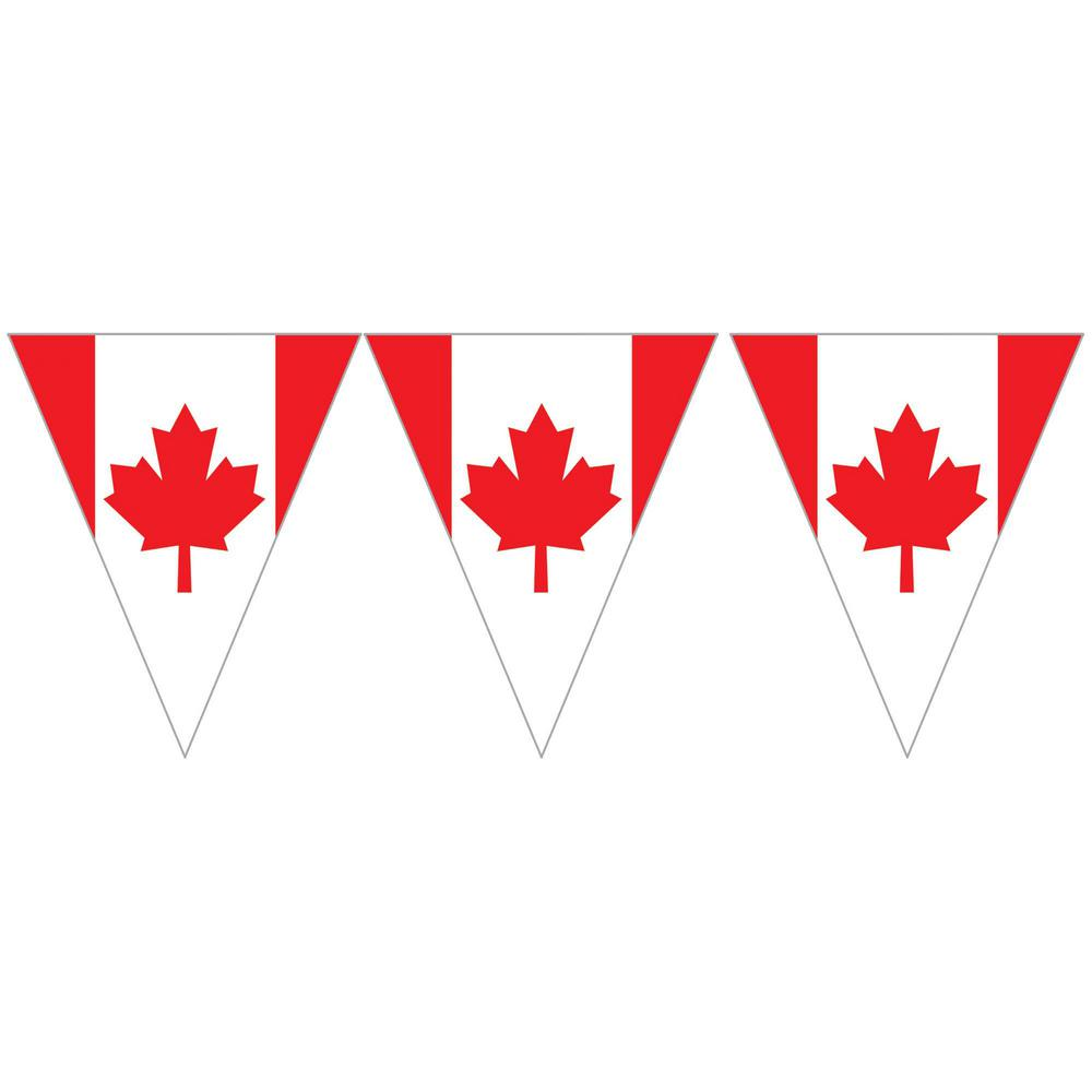 amscan 10 5 in x 12 ft canadian flag pennant banner 3 pack