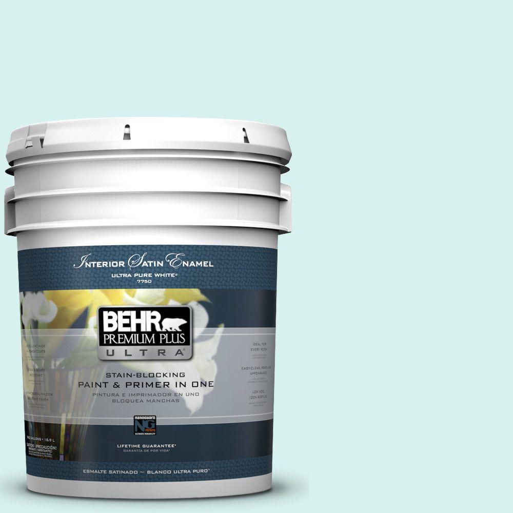 BEHR Premium Plus Ultra 5-gal. #P450-1 Sea Ice Satin Enamel Interior Paint