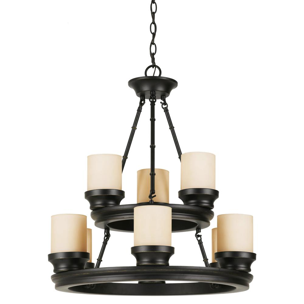 Hunters Lodge 9 Light Rubbed Oil Bronze Chandelier With Tea Stained Shade