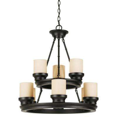 Hunters Lodge 9-Light Rubbed Oil Bronze Chandelier with Tea Stained Shade