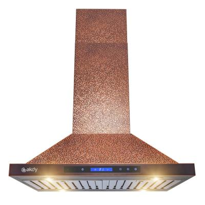 30 in. 343 CFM Convertible Kitchen Island Mount Range Hood in Embossing Copper with LED and Touch Panel