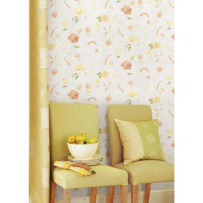 56.4 sq. ft. Hanne Yellow Floral Pattern Wallpaper