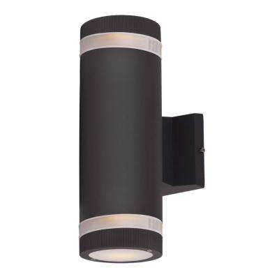 Lightray 4.25 in. W 2-Light Architectural Bronze Outdoor Wall Mount Sconce