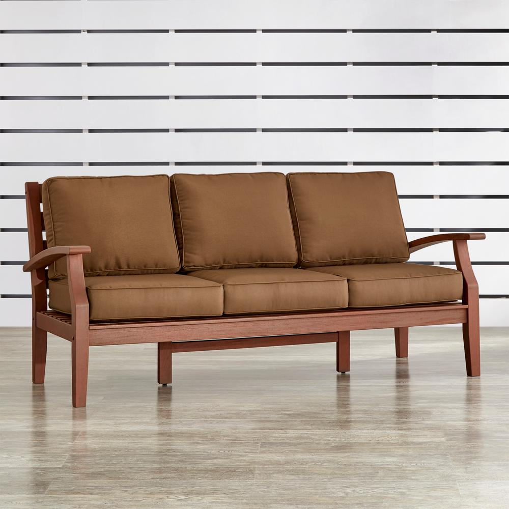Verdon Gorge Brown 1-Piece Oiled Wood Outdoor Sofa with Brown Cushions