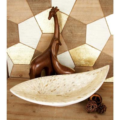 22 in. x 6 in. Natural White Shell Oval Bowl