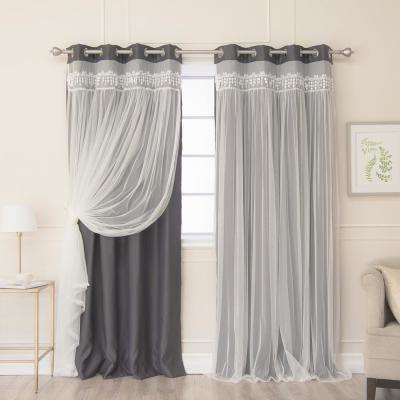 Dark Grey 96 in. L Elis Lace Overlay Blackout Curtain Panel (2-Pack)