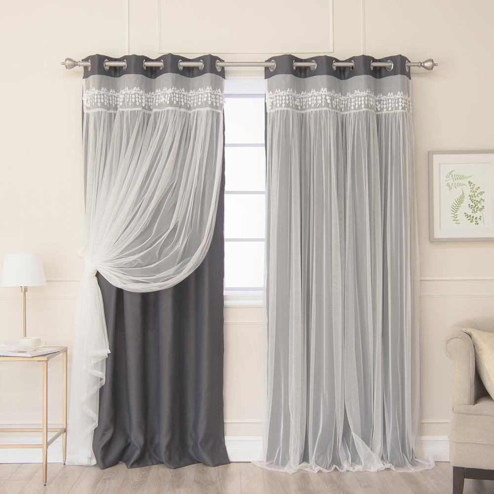 Best Home Fashion Grey 84 in. L Elis Lace Overlay Blackout Curtain Panel in Dark (2-Pack)