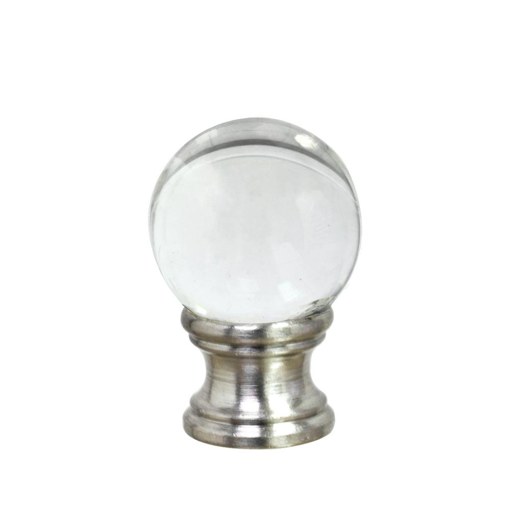 1-1/2 in. Clear Glass Ball Lamp Finial with Nickel Finish (1-Pack)