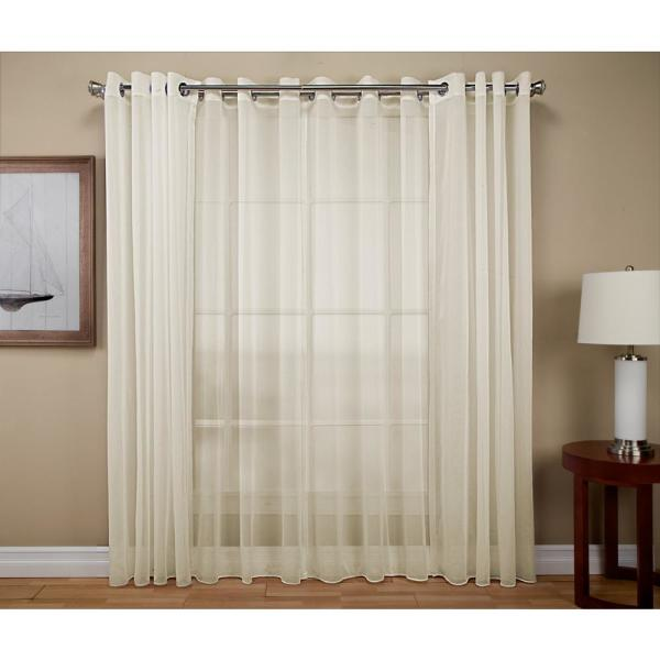 Tergaline 108 in. W x 84 in. L Double Wide Sheer Grommet Window Panel in Ivory