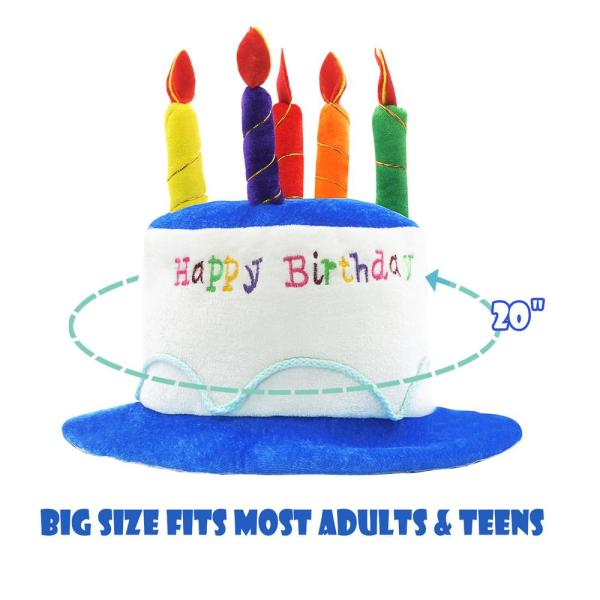Novelty Place Blue Plush Happy Birthday Cake Hat Adult Size Fancy Dress Party Hats Perfect As Party Favors Costume Accessories Np Hat Hbdcake The Home Depot