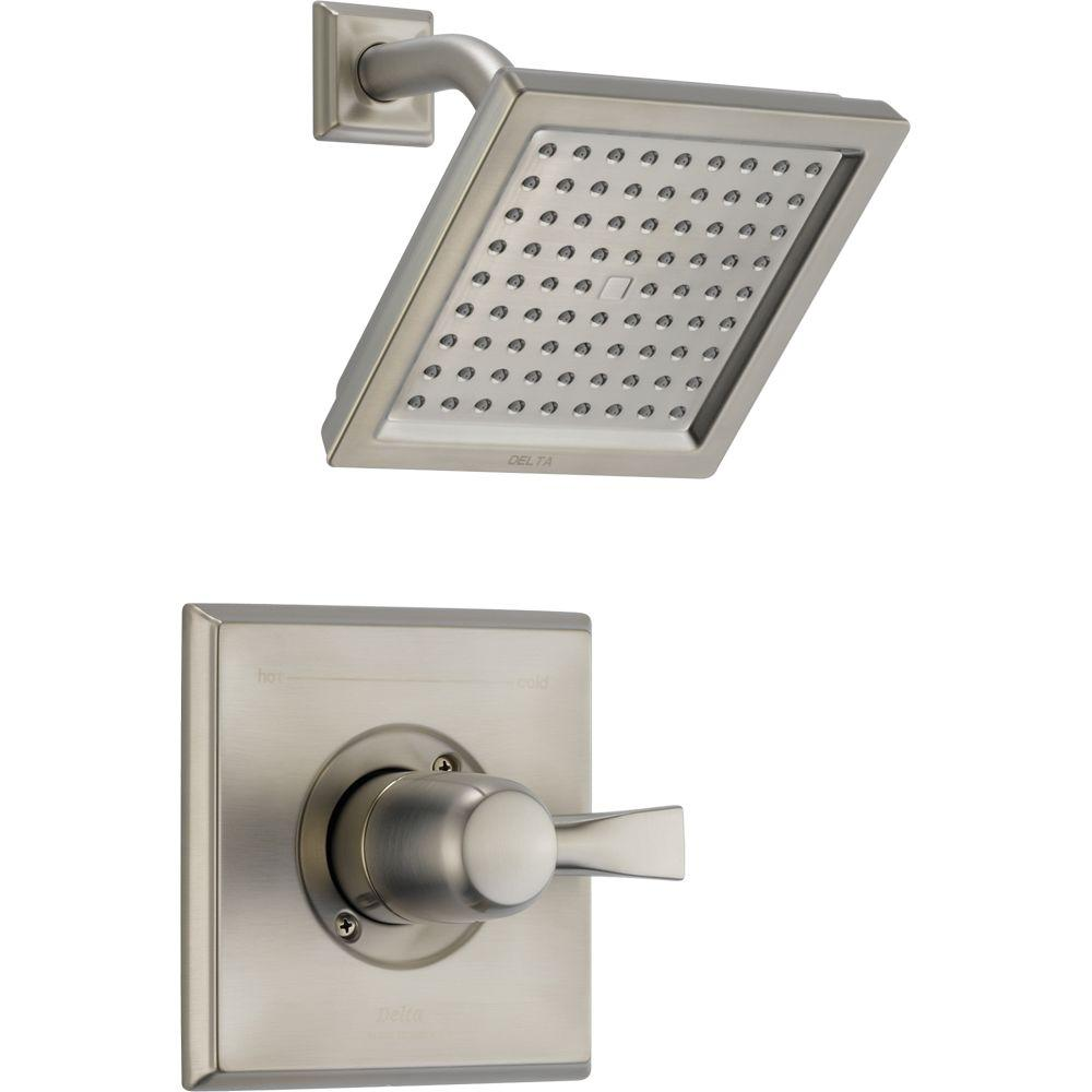 Delta Dryden 1 Handle 1 Spray Raincan Shower Faucet Trim Kit In Stainless  (Valve Not Included) T14251 SS   The Home Depot