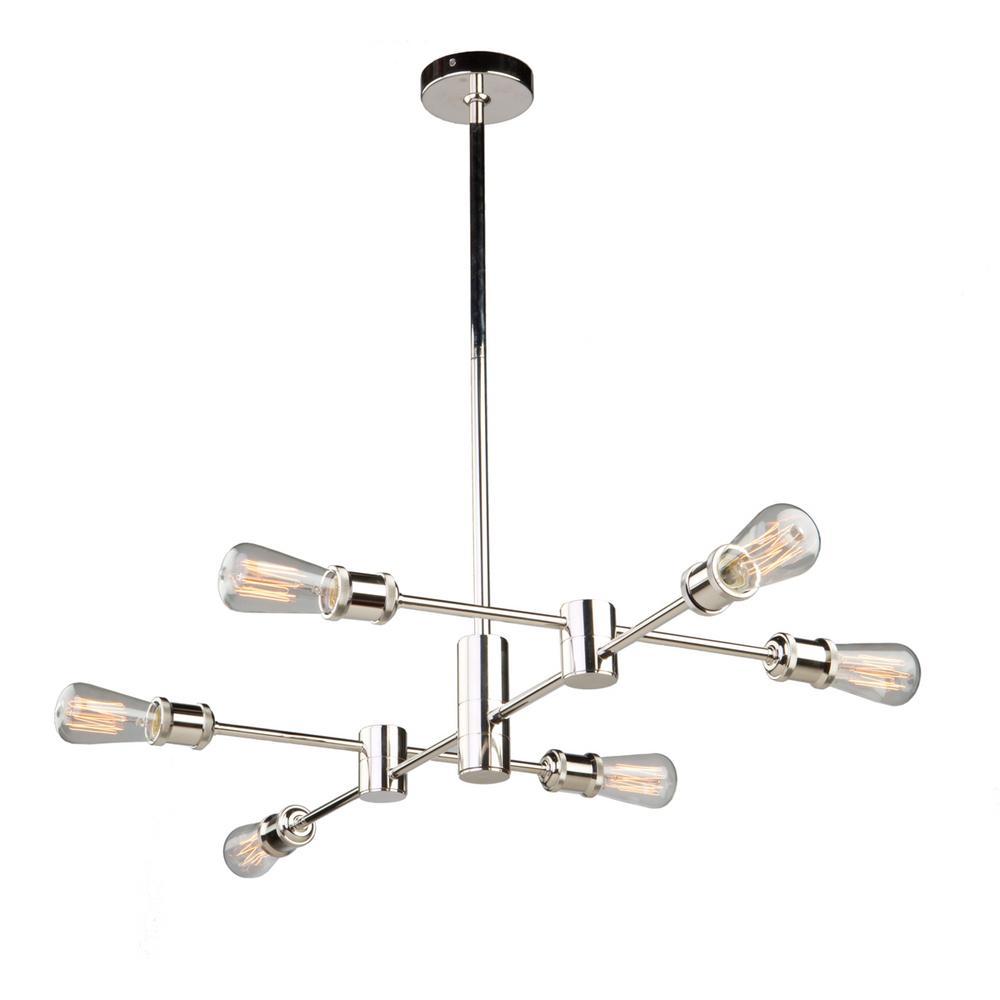 6-Light Polished Nickel Chandelier