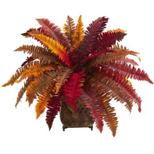 Indoor Autumn Boston Fern Artificial Plant in Metal Planter
