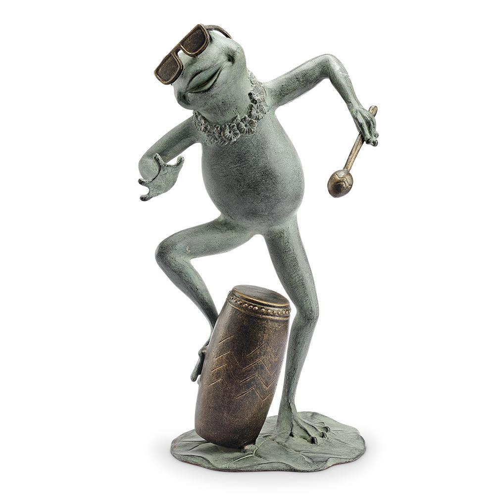 Frog Conga Drummer Garden Statue