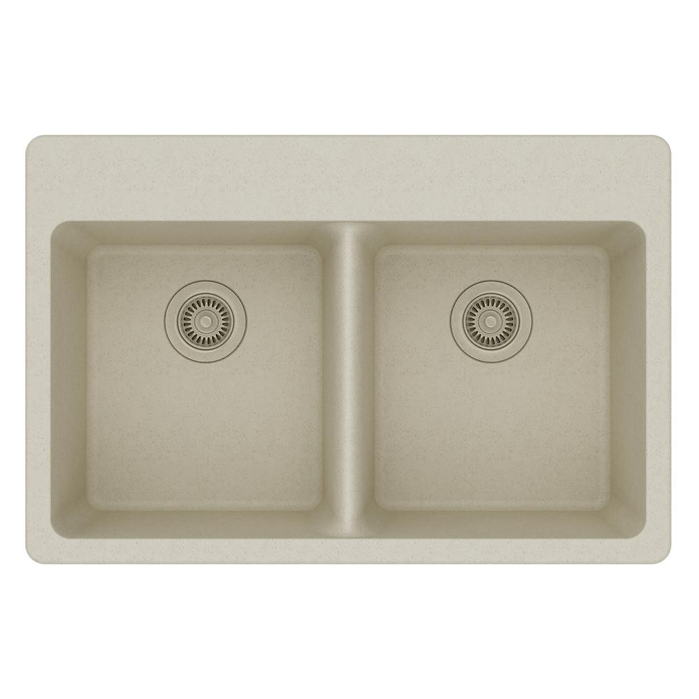Elkay Quartz Classic Drop In Composite 33 In. Double Basin Kitchen Sink In  Bisque ELG3322BQ0   The Home Depot