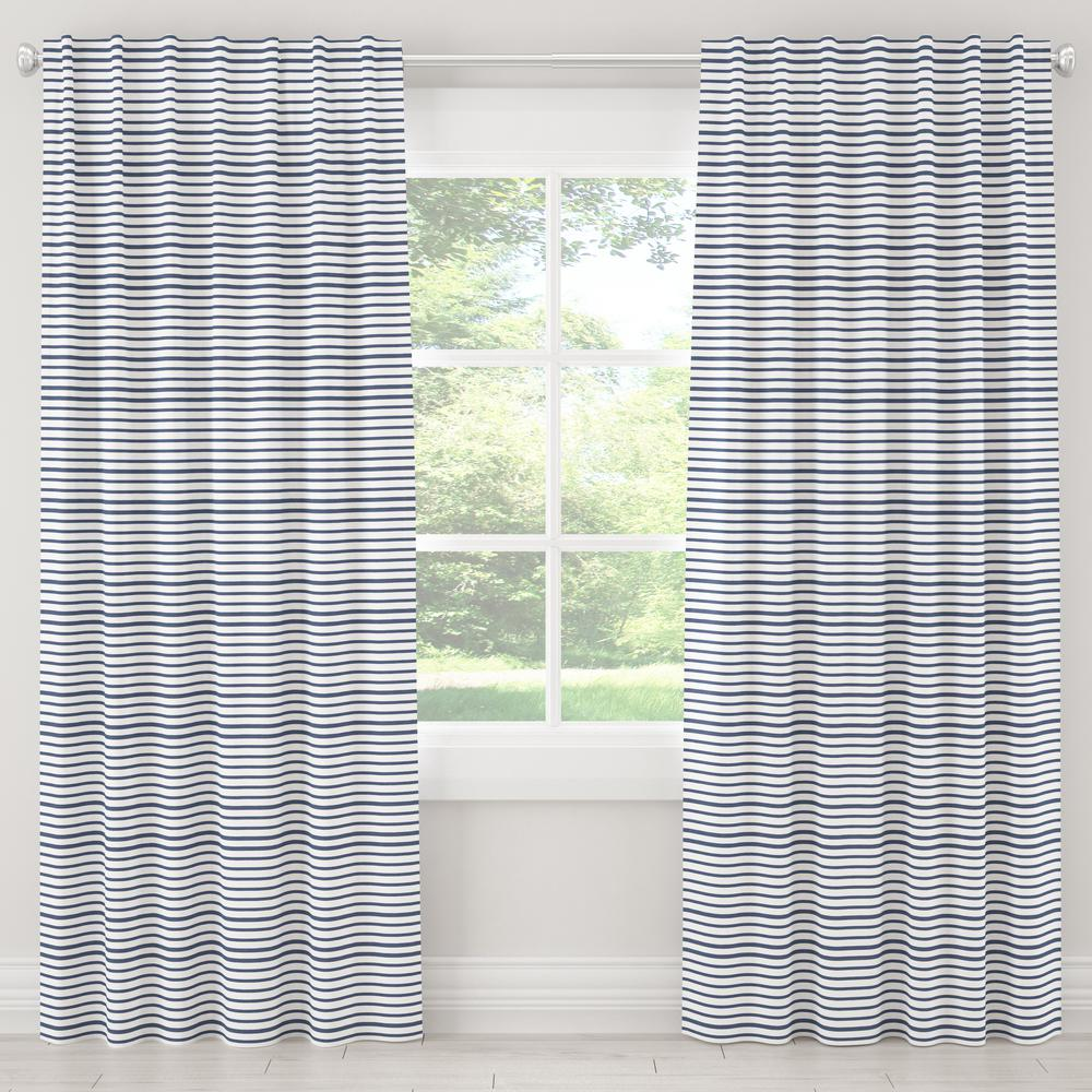 Skyline Furniture 50 in. W x 63 in. L Blackout Curtain in Nautical Stripe Navy