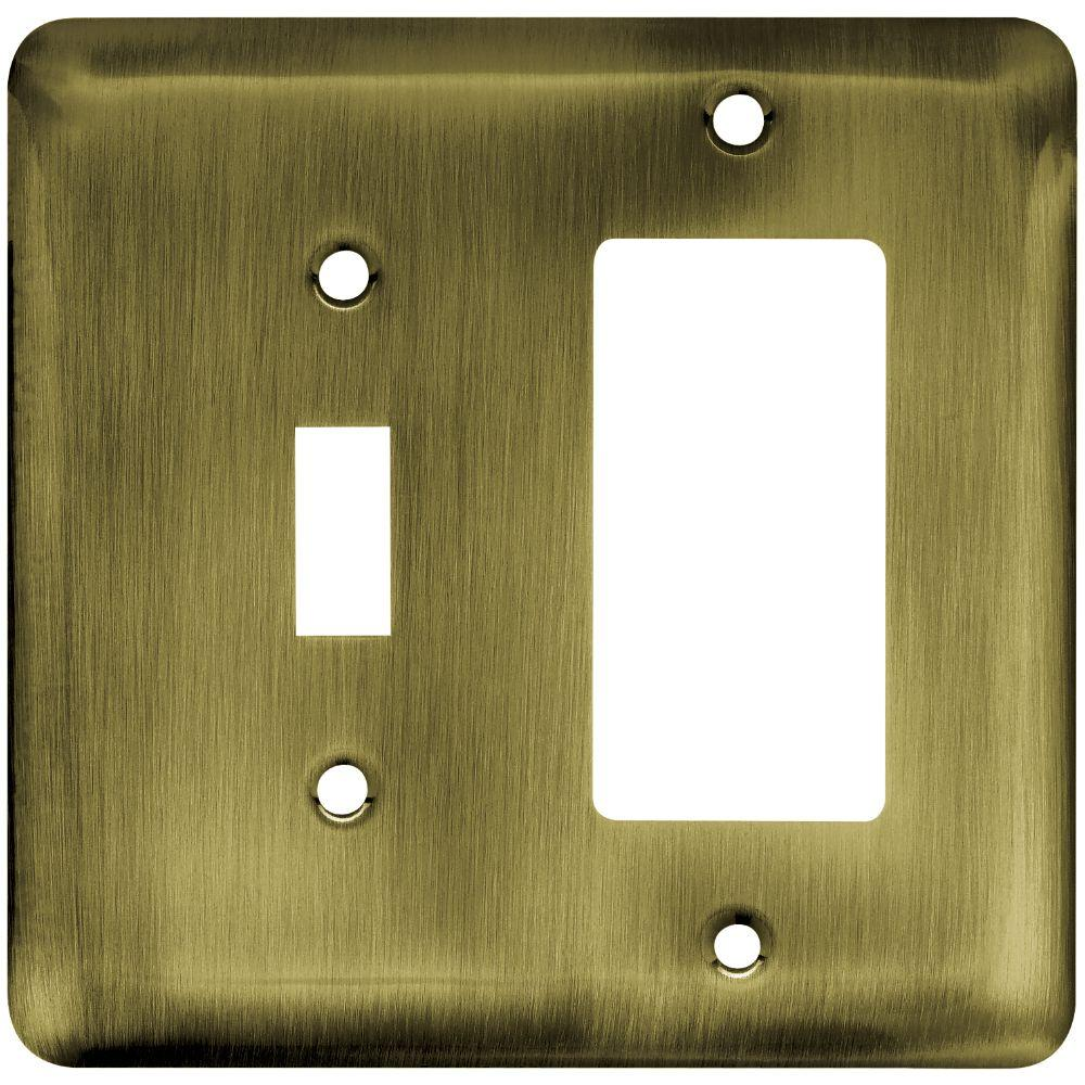 Liberty St&ed Round Decorative Switch and Rocker Switch Plate Antique Brass & Liberty Stamped Round Decorative Switch and Rocker Switch Plate ...