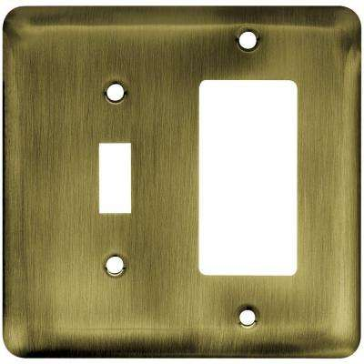 Stamped Round Decorative Switch and Rocker Switch Plate, Antique Brass