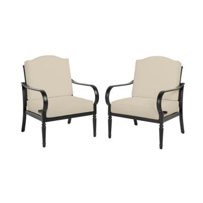 Laurel Oaks Brown Steel Outdoor Patio Stationary Dining Chair with CushionGuard Putty Tan Cushions (2-Pack)