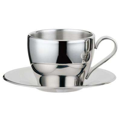 Cappuccino 8 oz.. Stainless Steel Double Walled Cup with Saucer