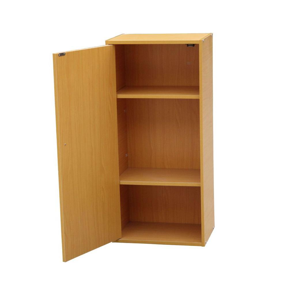 ORE International Natural Adjustable Shelf Solid Door Bookcase