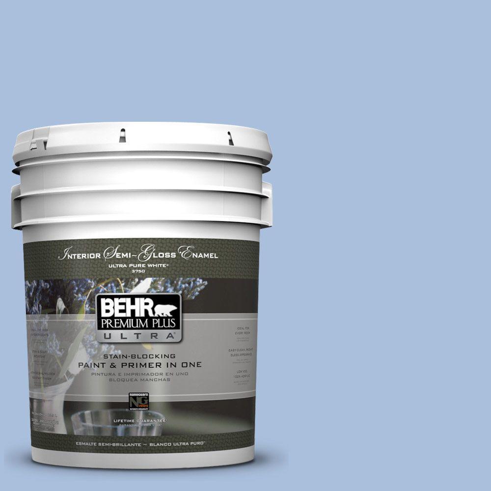 5-gal. #580D-4 Skysail Blue Semi-Gloss Enamel Interior Paint