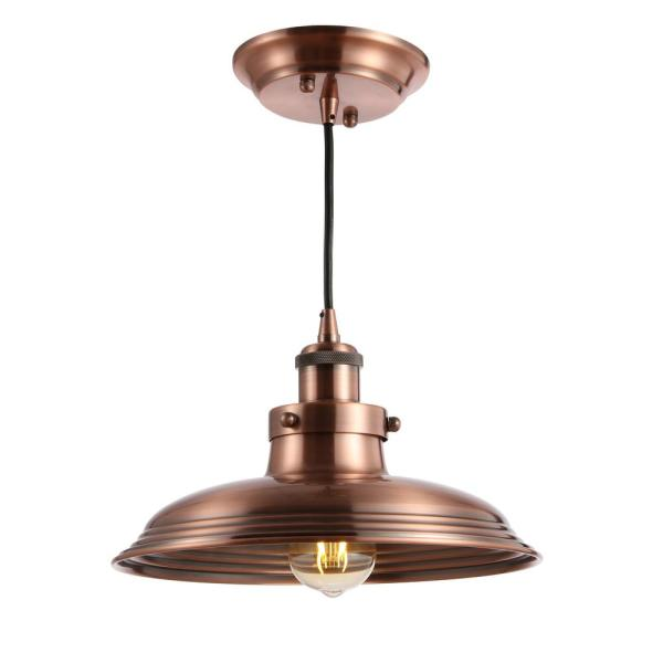 Bedford 11 in. Copper Adjustable Iron Industrial Rustic LED Kitchen Pendant