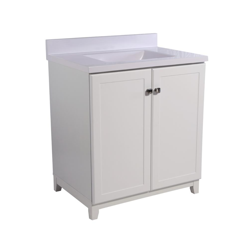 Design House Shorewood 30 in. W x 21 in. D 2-Door Vanity in White with Cultured Marble Top with Basin in Solid White
