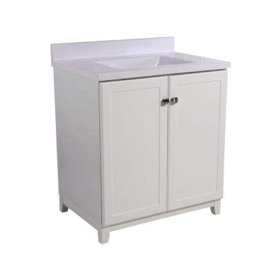 Shorewood 30 in. W x 21 in. D 2-Door Vanity in White with Cultured Marble Top with Basin in Solid White