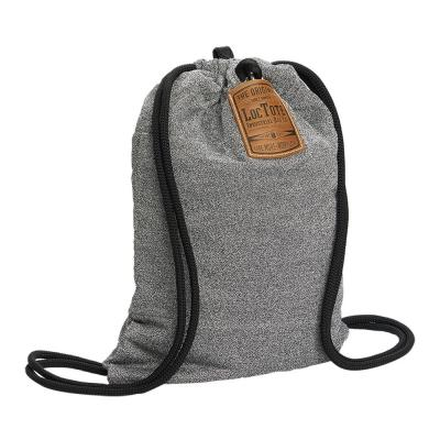 Grey Theft Resistant Drawstring Backpack