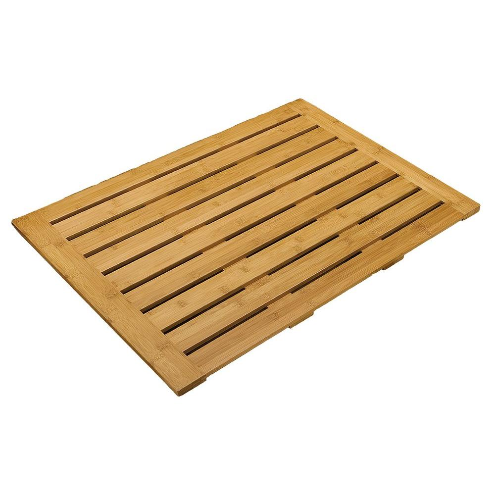 Seville Classics 22 in. x 28 in. Bamboo Bathroom Floor Mat
