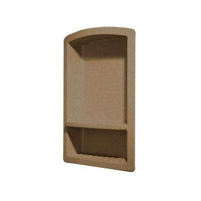 Recessed Wall-Mount Solid Surface Soap Dish and Accessory Shelf in Barley