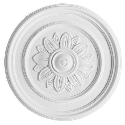 European Collection 21-1/16 in. x 1-9/16 in. Plain Medallion with Floral Center Polyurethane Ceiling Medallion