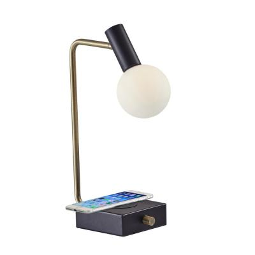 Windsor Qi Wireless Charging 17.5 in. LED Steel Desk Lamp