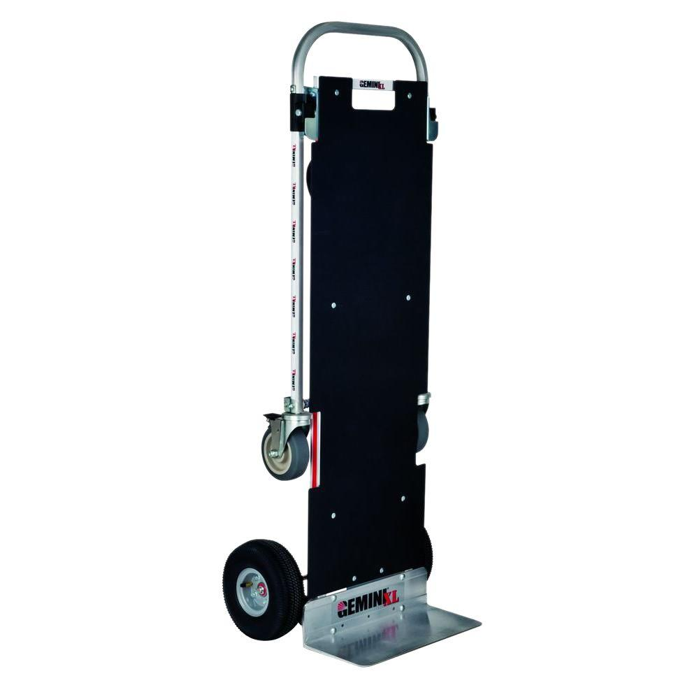 Magliner 1,250 lb. Capacity Gemini XL Convertible Aluminum Hand Truck with Locking Casters, Non-Skid Platform, Pneumatic Wheels