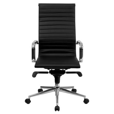 High Back Black Ribbed Upholstered Leather Executive Swivel Office Chair