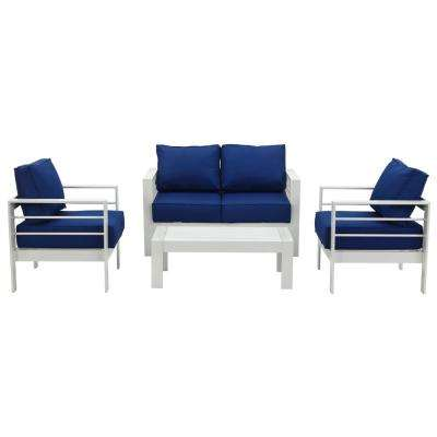 Nason White 4-Piece Metal Patio Conversation Set with Navy Cushions