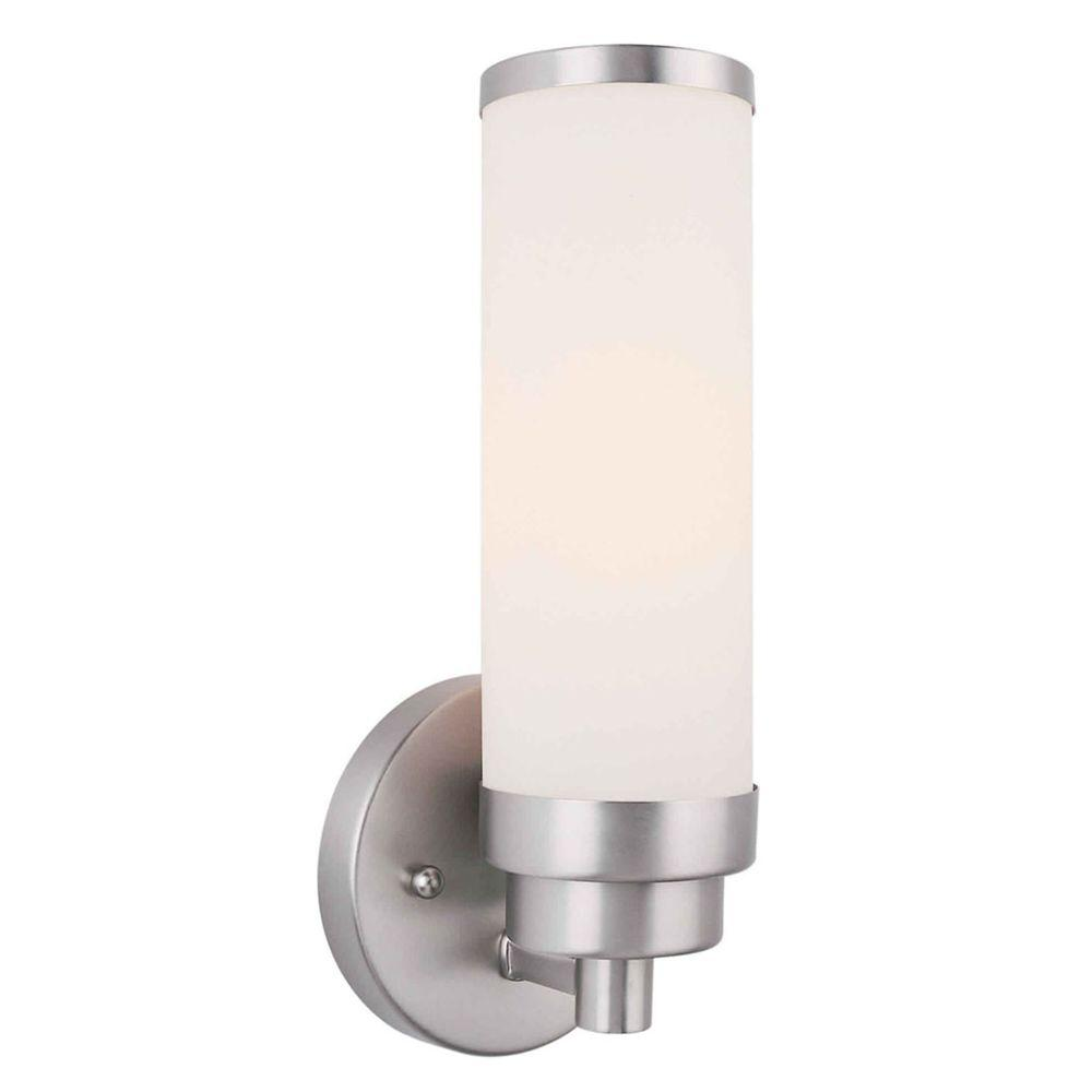 Talista Mattia 1-Light Brushed Nickel Sconce with Satin Opal Glass